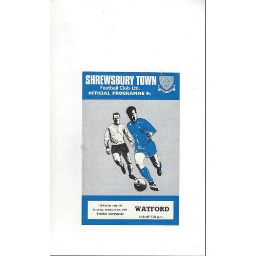 1968/69 Shrewsbury Town v Watford Football Programme