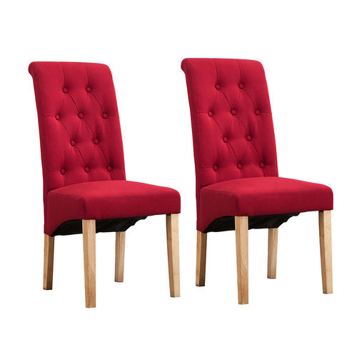 Fey Lined Fabric Dining Chairs Roll Top Scroll High Back (Red)