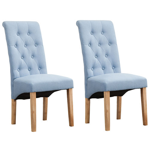 Fey Lined Fabric Dining Chairs Roll Top Scroll High Back (Blue)