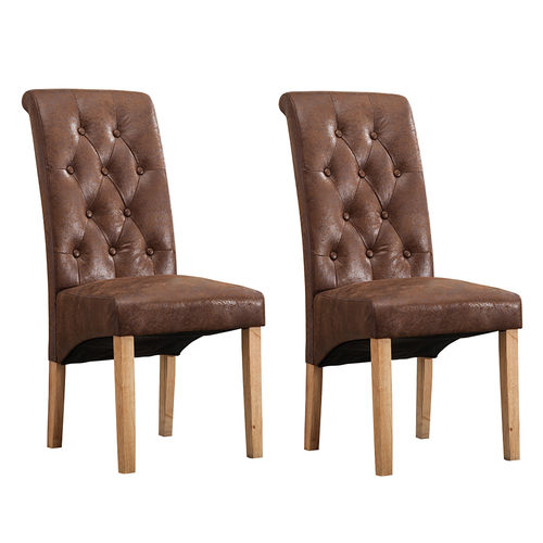 Fey Lined Fabric Dining Chairs Roll Top Scroll High Back (Brown)