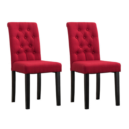 Fabio Lined Fabric Dining Chairs (Red)
