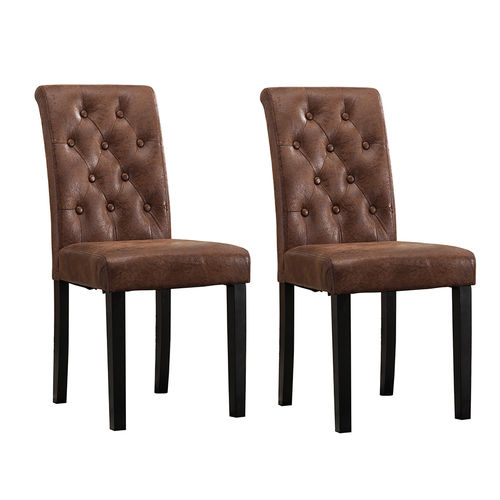 Fabio Lined Fabric Dining Chairs (Brown)