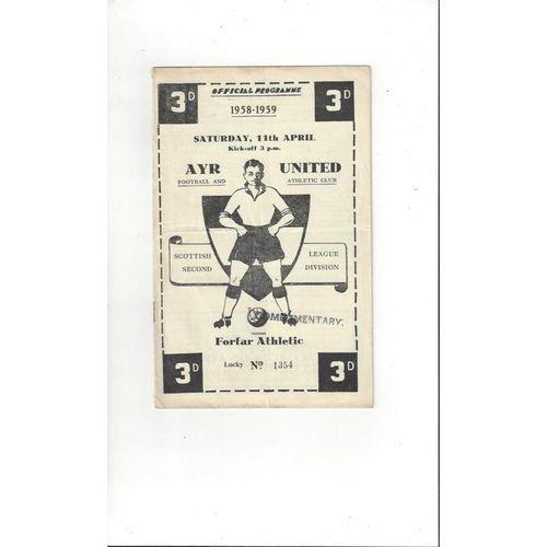 1958/59 Ayr United v Forfar Athletic Football Programme