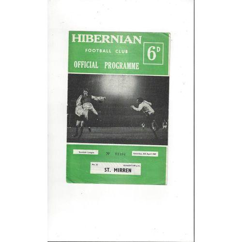 1966/67 Hibernian v St Mirren Football Programme