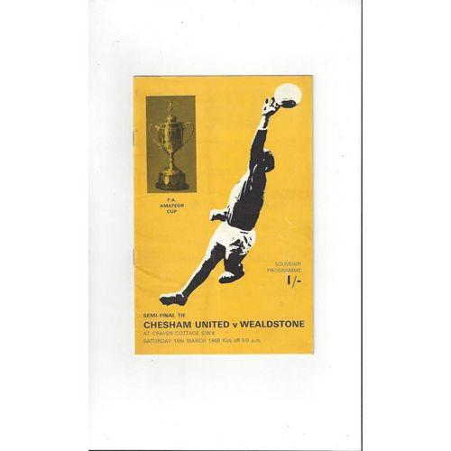 1967/68 Chesham United v Wealdstone FA Amateur Cup Semi Final Football Programme