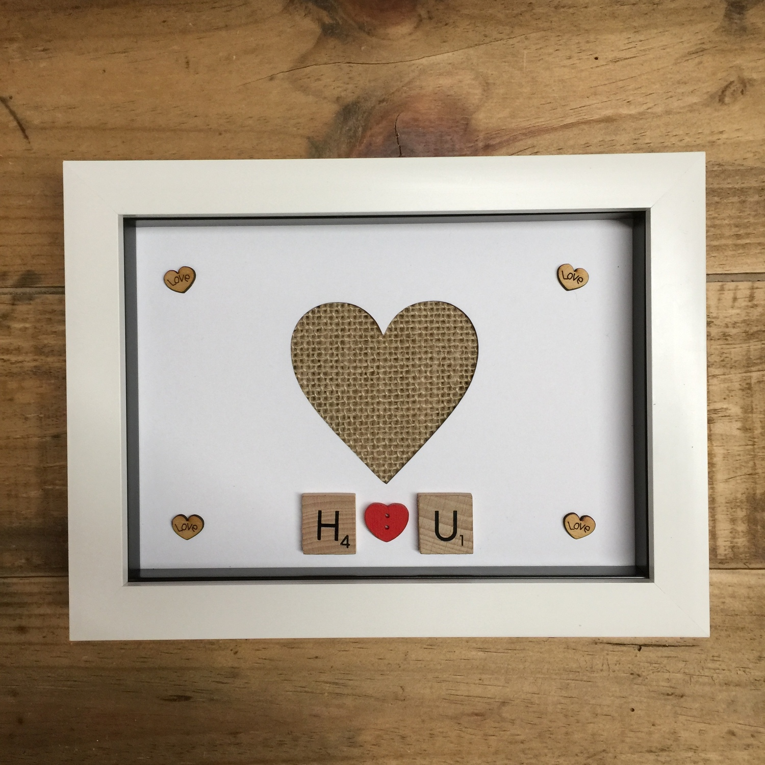 I love you heart photo frame | Crafty Monkey | Personalised Golden ...