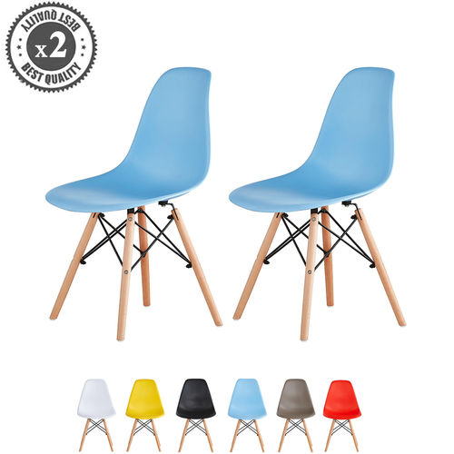 Lia Dining Chairs With Wooden Legs Eiffel Retro Lounge (Blue)