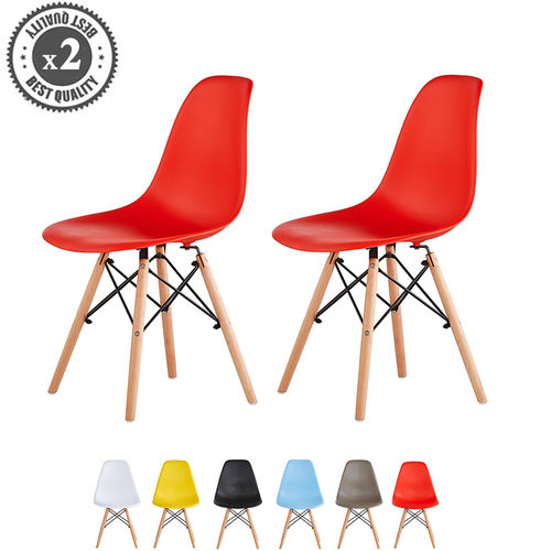 Lia Dining Chairs With Wooden Legs Eiffel Retro Lounge (Red)