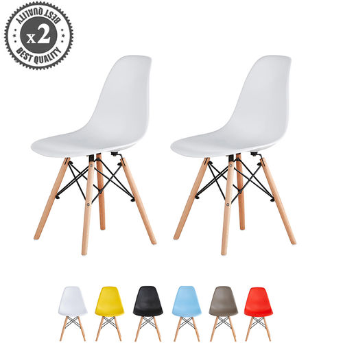 Lia Dining Chairs With Wooden Legs Eiffel Retro Lounge (White)
