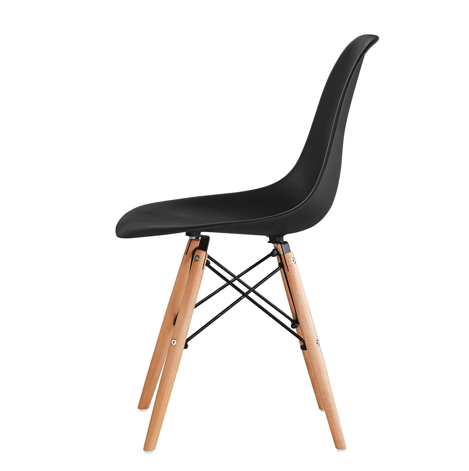 Lia Dining Chairs With Wooden Legs Eiffel Retro Lounge (Black)