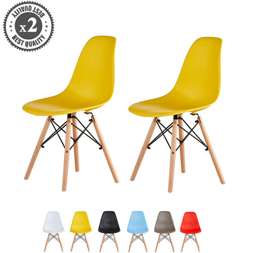 Lia Dining Chairs With Wooden Legs Eiffel Retro Lounge (Yellow)