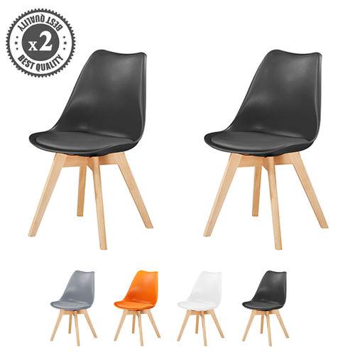 Eva Deluxe Dining Chairs Deluxe Wooden legs (Black)