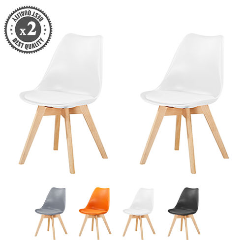 Eva Deluxe Dining Chairs Deluxe Wooden legs (White)