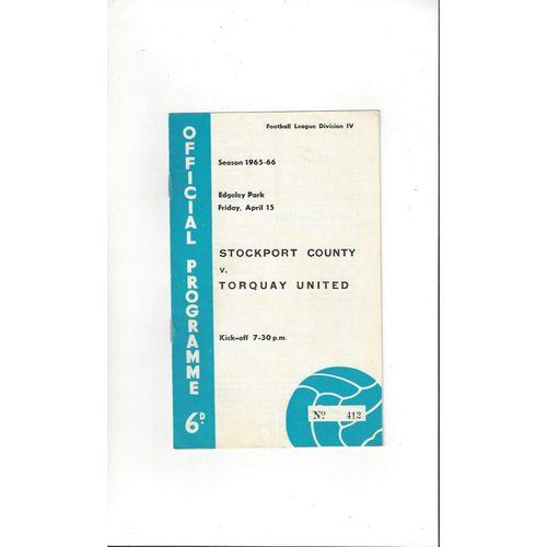 1965/66 Stockport County v Torquay United Football Programme