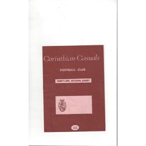 1969/70 Corinthian Casuals v Oxford City Football Programme