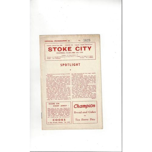1960/61 Stoke City v Derby County Football Programme