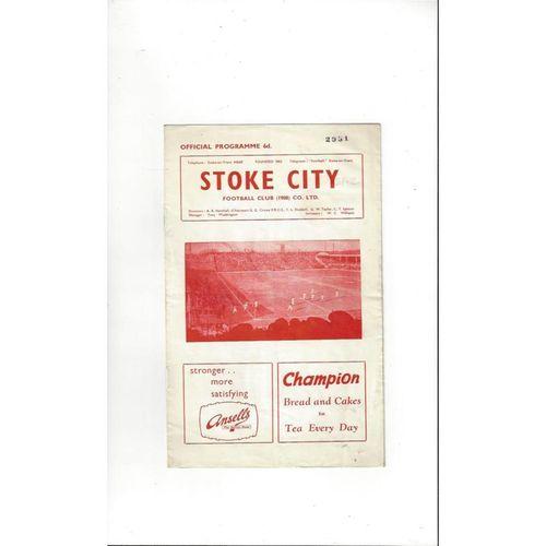 1961/62 Stoke City v Derby County Football Programme