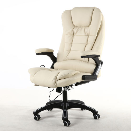 Oscar Executive Faux Leather Massage Heating Office chair (Cream)