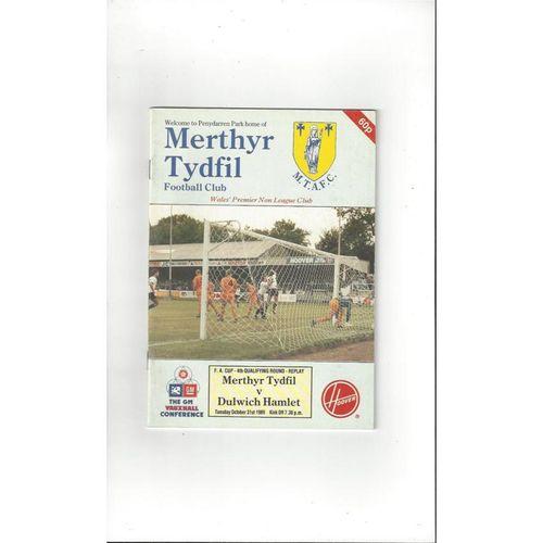 1989/90 Merthyr Tydfil v Dulwich Hamlet FA Cup Replay Football Programme