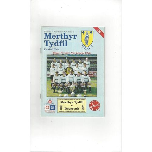 1990/91 Merthyr Tydfil v Dover Athletic FA Cup Replay Football Programme