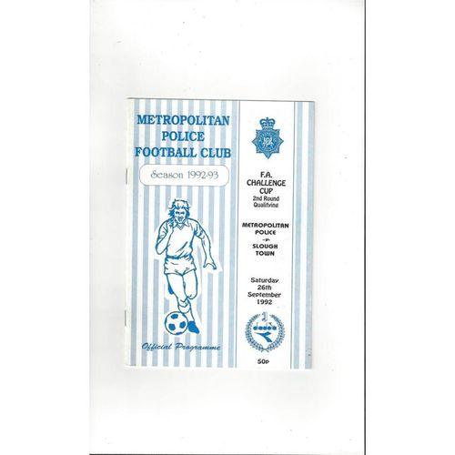1992/93 Metropolitan Police v Slough Town FA Cup Football Programme