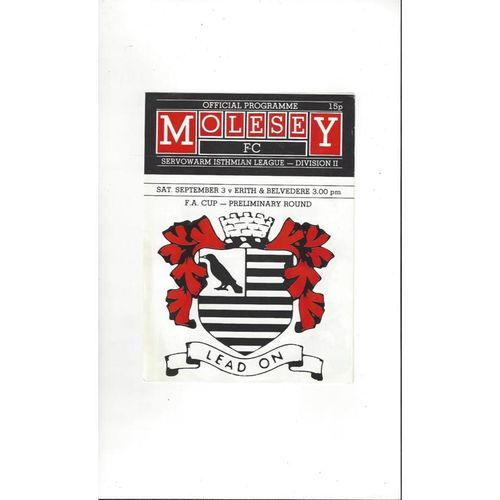 Molesey v Erith & Belvedere FA Cup Football Programme No Date
