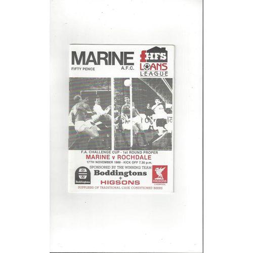 1989/90 Marine v Rochdale FA Cup Football Programme