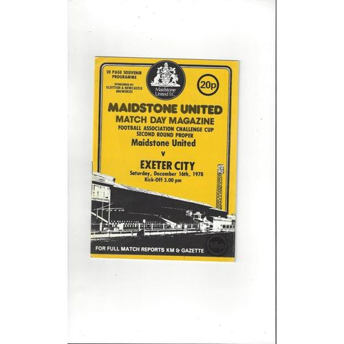 1978/79 Maidstone United v Exeter City FA Cup Football Programme