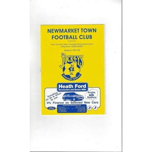 1991/92 Newmarket Town v Biggleswade FA Cup Football Programme