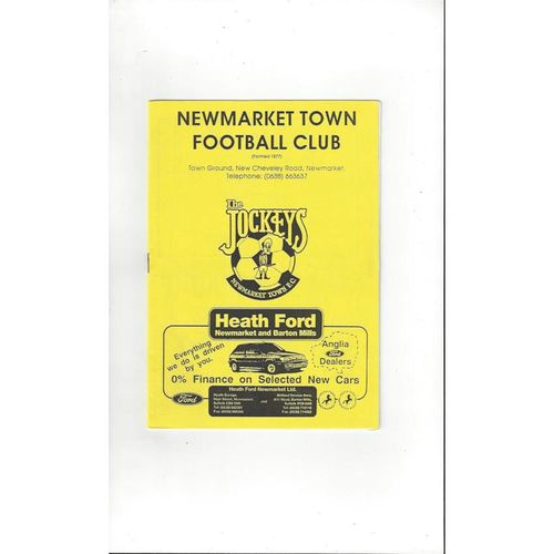 1992/93 Newmarket Town v Tilbury FA Cup Replay Football Programme