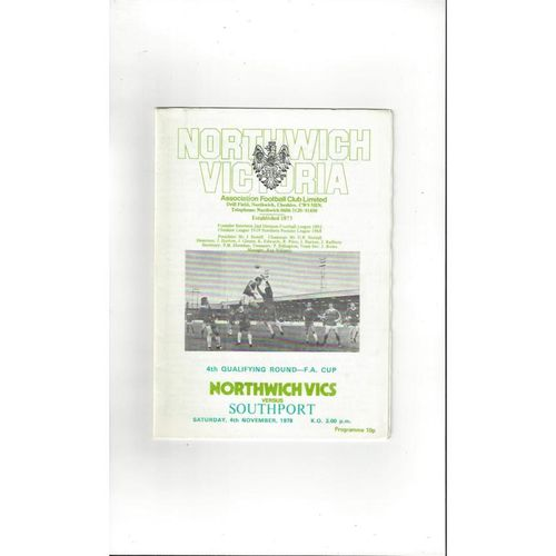 1978/79 Northwich Victoria v Southport FA Cup Football Programme