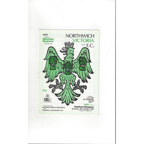 1986/87 Northwich Victoria v Stafford Rangers FA Cup Football Programme