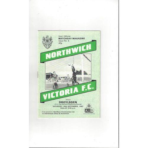 1987/88 Northwich Victoria v Droylsden FA Cup Football Programme