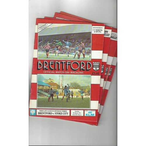10 Brentford Football Programmes 1990/91 All Single Items