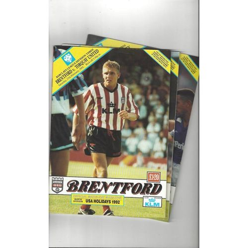 7 Brentford Football Programmes 1991/92 All Single Items