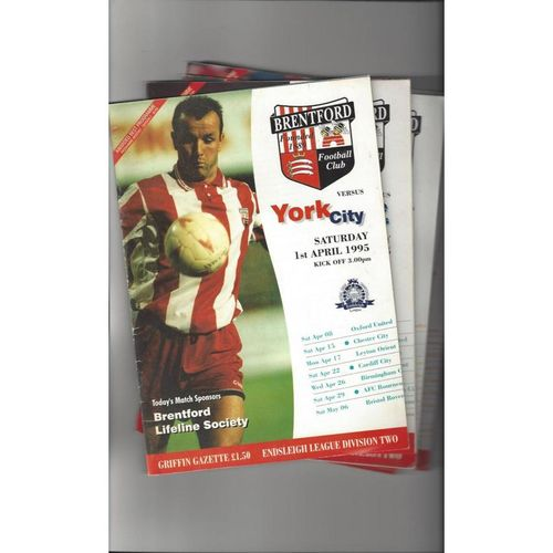 17 Brentford Football Programmes 1994/95 All Single Items