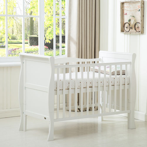 Savannah Sleigh Cot Bed With 120x60 Mattress (White)