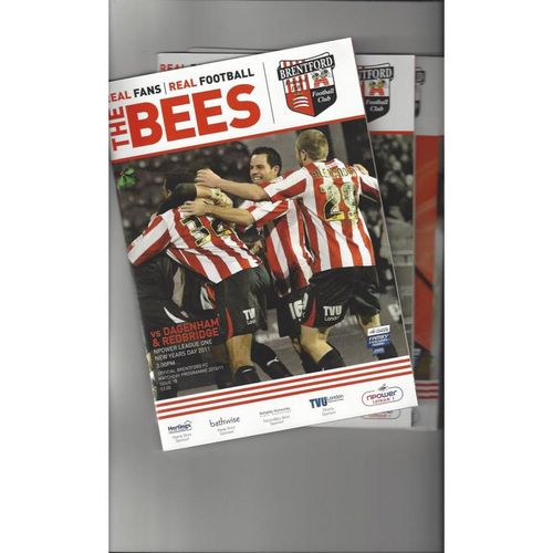 10 Brentford Football Programmes 2010/11 All Single Items