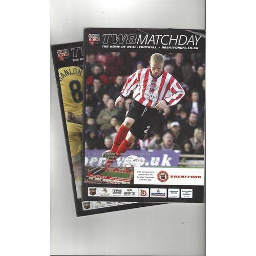 10 Brentford Football Programmes 1995/96 & 2003/04 All Single Items