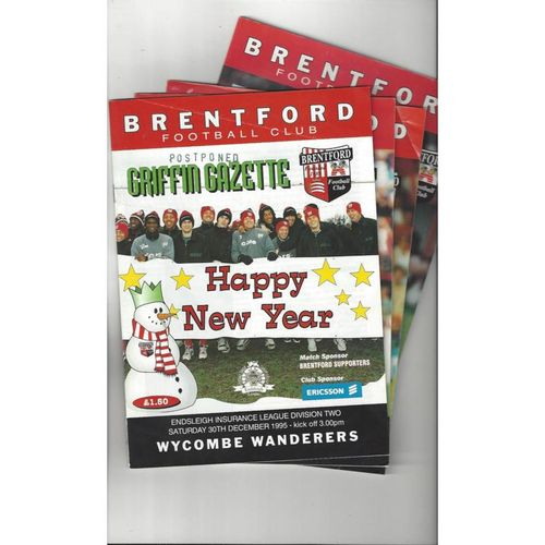 10 Brentford Football Programmes 1995/96 & 2003/04 All Single Items