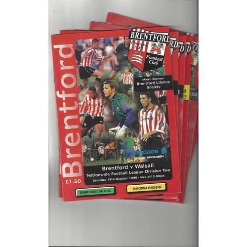 24 Brentford Football Programmes 1996/97 - 2010/11 All Single Items