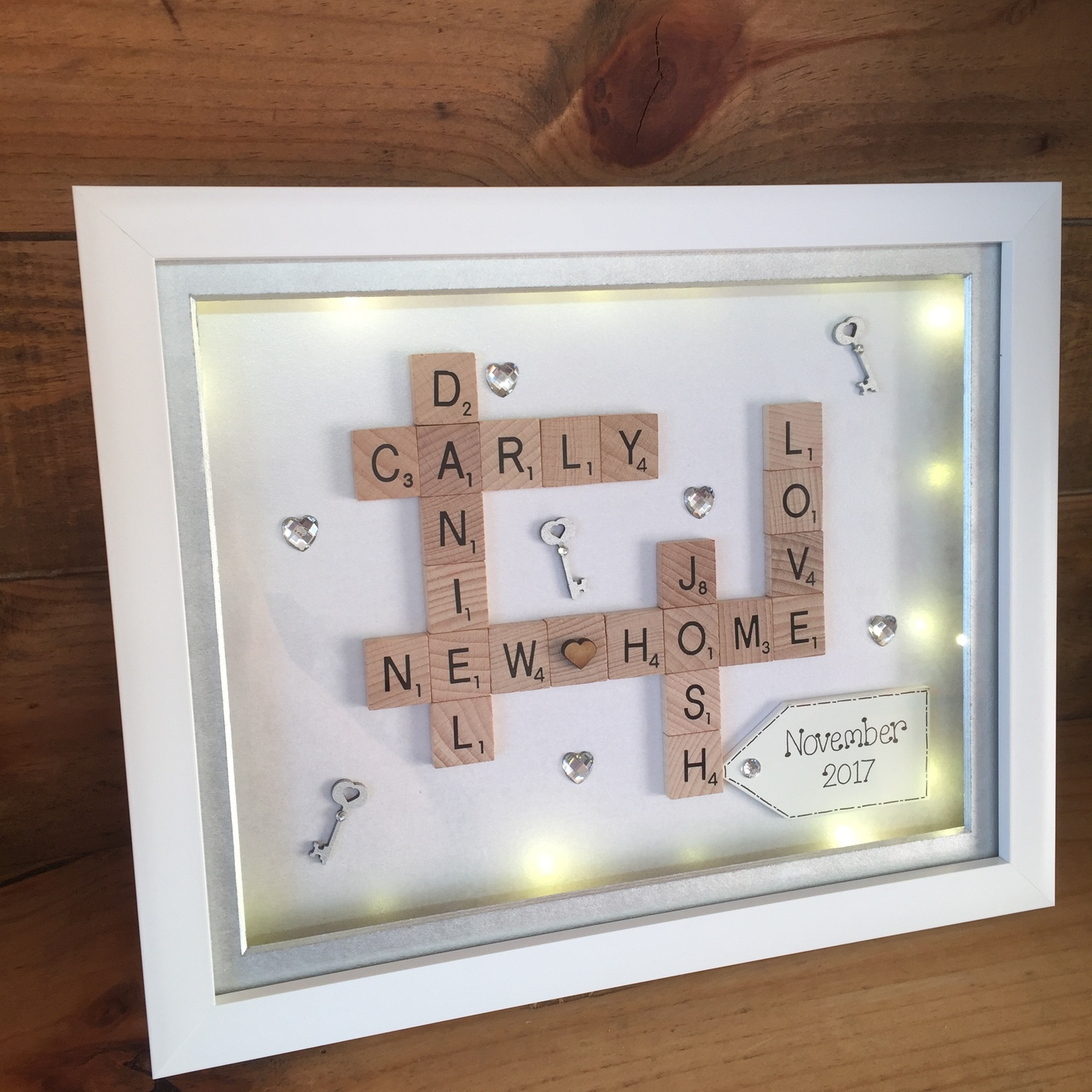 "LED New home"" scrabble word art 