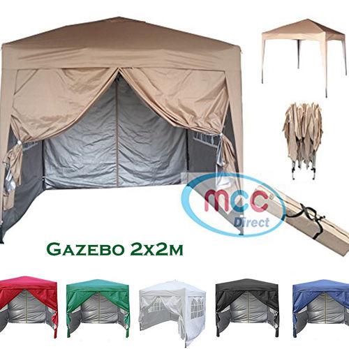 2m x 2m Gazebo Resistant Outdoor Garden Marquee Canopy + side's (Beige)