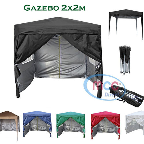 2m x 2m Gazebo Resistant Outdoor Garden Marquee Canopy + side's (Black)