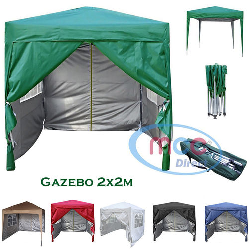 2m x 2m Gazebo Resistant Outdoor Garden Marquee Canopy + side's (Green)
