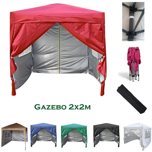 2m x 2m Gazebo Resistant Outdoor Garden Marquee Canopy + side's (Red)