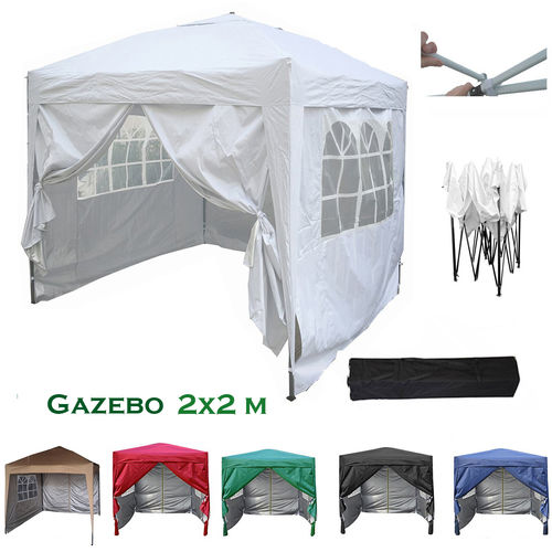 2m x 2m Gazebo Resistant Outdoor Garden Marquee Canopy + side's (White)