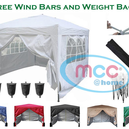 3m x 3m Gazebo Resistant Outdoor Garden Marquee Canopy + side's (White)