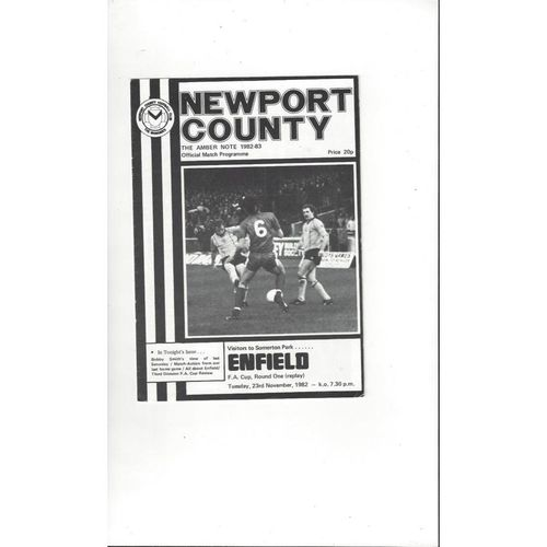 Newport County v Enfield FA Cup Replay Football Programme 1982/83