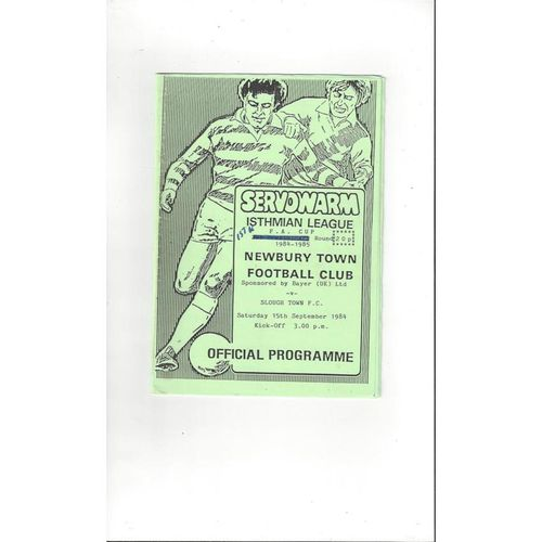 Newbury Town v Slough Town FA Cup Football Programme 1984/85